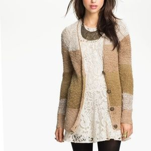 Free People Knit Color Block Open Cardigan